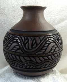 Pottery Swirl Vase - Hand Carved Dark Chocolate $39.00