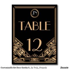 Customizable Art Deco Gatsby Style Table Numbers Postcard