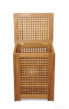 Teak Hamper - great for bathrooms, exercise clubs, pools etc. Hamper, Pools, Teak, Bathrooms, Decorative Boxes, Laundry, Exercise, Home Decor, Toilets
