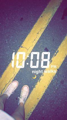 Time, snapchat, road, night, walks, lines, feet