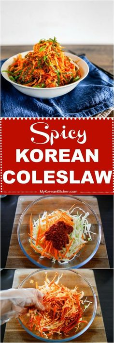 Quick and easy spicy Korean coleslaw recipe. It has a spicy, tangy and sweet taste. A perfect side dish to Korean BBQ, tacos and hamburgers. Chinese Coleslaw, Spicy Coleslaw, Vegan Coleslaw, Asian Recipes, Healthy Recipes, Chinese Recipes, Drink Recipes, Chinese Food, Korean Recipes