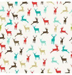 Merry christmas reindeer seamless pattern vector - by cienpies on VectorStock®