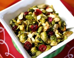 Roasted Brussels Sprout Salad with Cranberries and Almonds - I use low sodium vegetable broth - no oil - garlic, cranberries and almonds - Delicious!