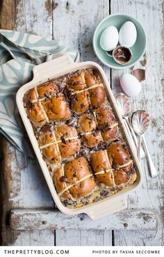 Yummy hot cross bun pudding   Perfect for Easter weekend    Photographer: @Tasha Adams Seccombe, Recipe, testing & preparation: @Ilse Sonck van der Merwe, Styling: @Nicola Pearce Pretorius, Rectangular Dish: Le Creuset