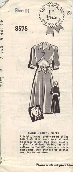Vintage Mail Order Sewing Pattern 1940s Simplicity Skirt Blouse Bolero Jacket Size 14  AdeleBeeAnn Patterns Via Etsy.com
