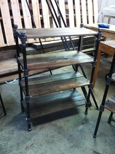 I think that I am going to make one that is more narrow and add wheels for bathroom storage. Custom Made Pair Of Reclaimed Oak And Industrial Cast Iron Pipe Shelves Pipe Furniture, Wicker Furniture, Industrial Furniture, Rustic Furniture, Industrial Pipe, Furniture Ideas, Furniture Cleaning, Funky Furniture, Furniture Stores