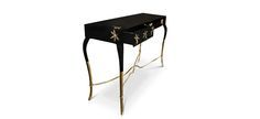 Luridae Console Table by Koket | The seduction begins with black lacquer gently applied and gold details. http://modernconsoletables.net