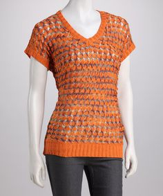 Take a look at this Orange Crocheted Short-Sleeve Top by High Secret on #zulily today!