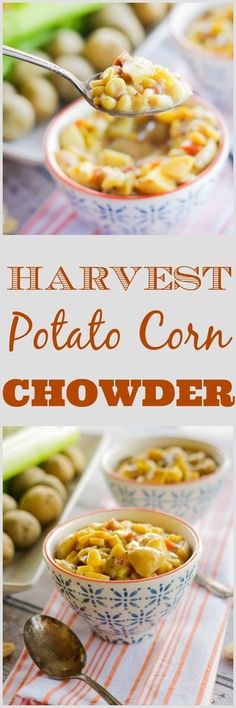 Harvest Potato Corn Chowder | www.homeandplate.com | Tender chunks of potato, crispy bits of pancetta, summer sweet crisp corn make up this hearty soup.