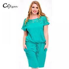 CUYIZAN Summer Style Women's loose playsuit www. Rompers Women, Jumpsuits For Women, Fashion Pants, Plus Fashion, Womens Fashion, Plus Size Romper, Playsuit Romper, Women's Summer Fashion, Short Sleeve Dresses