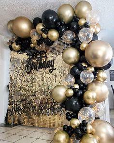 Birthday Decorations At Home, 21st Birthday Decorations, Graduation Party Themes, Birthday Balloon Decorations, Birthday Backdrop, Balloon Decorations Party, Backdrop Decorations, 40th Birthday Parties, Chanel Birthday Party