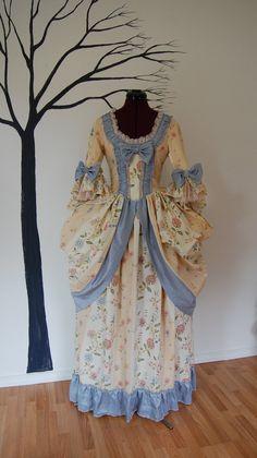 Pretty tea party summer flower patterned dress Marie Antoinette Victorian inspired costume dress