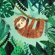 Sloth in bliss by Rebecca Jones @drawnbyrebeccajones Sloth hanging out amongst the jungle leaves I painted.