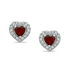 Heart-Shaped Garnet + Diamond Stud Earrings
