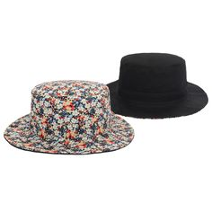 BLACK New Fashion Cotton Small Broken Floral Bucket Hat Reversible Hats  Outdoor Fishing hat Sumner Bucket 053c91f7eac6