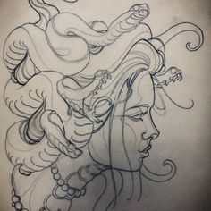 traditionelles Medusa-Tattoo Source by kaydeezzay Tatoo Henna, Tatoo Art, Body Art Tattoos, Sleeve Tattoos, Tattoos Pics, Tattoo Ink, Leg Tattoos, Tattoo Sketches, Tattoo Drawings