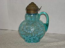 Northwood, Blue Opalescent, Daisy & Fern, Syrup Pitcher