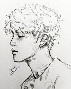 kpop arts ʕ ᴥ ʔ drawing mang 225 meninos bts Jimin Fanart, Kpop Fanart, Kpop Drawings, Pencil Drawings, Drawing Sketches, Art Inspo, Art Reference, Art Sketchbook, Character Illustration