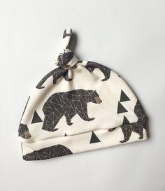 Organic Newborn Hat - Geometeic Bears on Cream - Organic Cotton Knit - Baby Hat - Bear Hat - Newborn Knot Hat - Bear Newborn Hat - Newborn