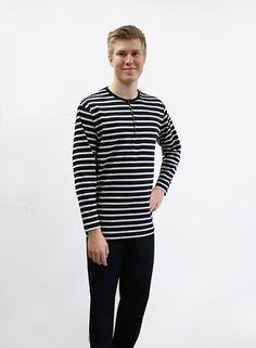 Miesten pyjama,musta/ hiekka - Ratiashop Long Sleeve, Sleeves, Mens Tops, T Shirt, Fashion, Supreme T Shirt, Moda, Tee Shirt, Long Dress Patterns