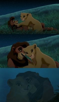 """""""We are one."""" Lion King 2. Um, Kovu's scar in the third panel is on the wrong side...just saying. XD"""