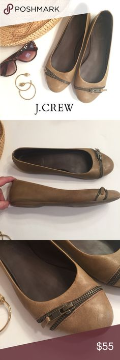 J Crew Zip-Front Ballet Flats Super cute J. Crew Zip-Front Ballet Flats in a beige leather. So popular they are sold out online. Step-in and go comfort and style. EUC  J. Crew Shoes Flats & Loafers