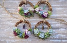 Mini Succulent Wreath Friend Gift Send a Gift Mini Succulent Wreath Decor Friend Gift Box Mini Gemstone Wreath Be Brave Gift