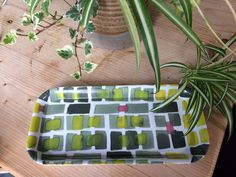Geometric, green, grey and yellow tray by SaraPagedesign on Etsy
