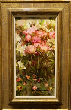 """""""Peonies"""" Oil 24"""" x 12""""- SOLD ©Nancy Guzik 2010 , 22 karat custom gold leaf frame from Allman ©This image is under strict copyright to the artist and may not be reproduced in any form"""