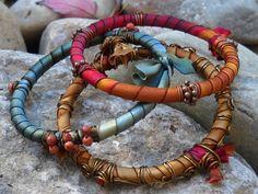 SET OF THREE Satin Ribbon Wrapped Bangles by HeidiLeeDesign