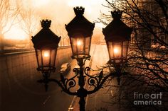 kathy fornal art for sale | Paris Sepia Twinkling Sunset Night Lanterns Photograph by Kathy Fornal ...