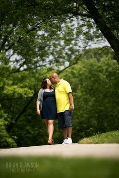 Photo by Brian Slawson Photography. Engagement shoot. #park #kiss shot #outdoor #summer