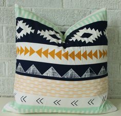 Kilim pillow cover, White mint peach navy gold Aztec tribal boho pillow by FigTreeBabyCo on Etsy https://www.etsy.com/listing/205676895/kilim-pillow-cover-white-mint-peach-navy