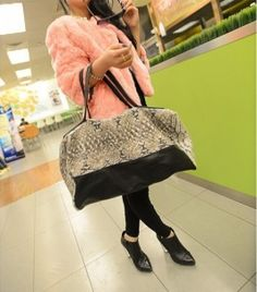 European Fashion Newly Trend Snake Grain Big Handbags pas cher