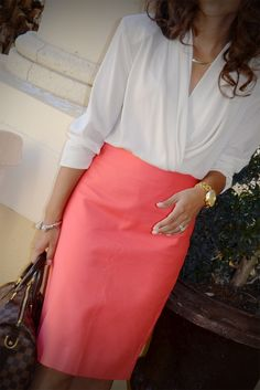 Love this wrap blouse & coral skirt
