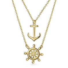Bling Jewelry Nautical Stylin Set featuring polyvore, fashion, jewelry, necklaces, necklaces pendants, pendant-necklaces, yellow, anchor jewelry, anchor necklace, pendants & necklaces, nautical pendant and yellow pendant