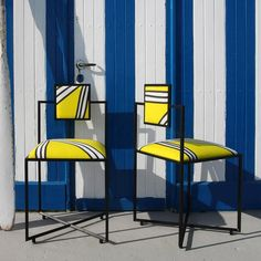 Hand-Crafted Capri Tria Giallo Iron Chair For Sale