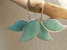 Sterling silver leaf frame Earrings filled with Turquoise polymer clay 20$