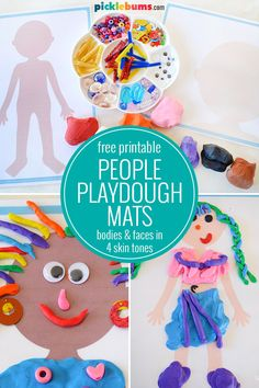 Free Printable People Play Dough Mats.  Grab some playdough and make some people with these free printable people play dough mats. There are bodies and faces in four different skin tones.   #playdough #freeprintables Playdough Activities, Montessori Activities, Learning Activities, Preschool Activities, Kids Learning, Therapy Activities, Counseling Activities, Indoor Activities, Toddler Play