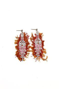 Eswear Raw Silk + Crystal Deco Earrings