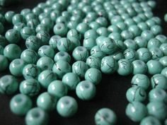 Turquoise Mottled with black Glass Round Glass Beads 4mm