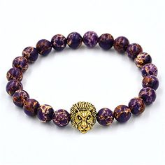 Koky Natural Stones Beaded Stretch Bracelet with Gold Lion Head for Men (Purple) Koky http://www.amazon.com/dp/B01A8UJF02/ref=cm_sw_r_pi_dp_1WaQwb1YNXWZ1