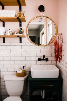 The couple recently renovated the small master bathroom.