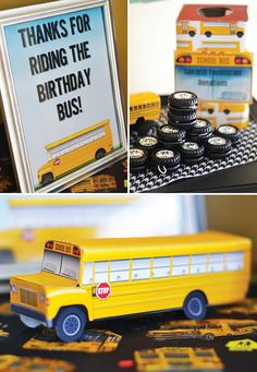A School bus birthday party with tire doughnuts, candy stoplight skewers, school bus birthday cake, stop sign cookie pops + bus wheel yo-yo party favors
