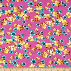 Rayon Challis Floral Candy Pink/Yellow/Green from @fabricdotcom  This rayon challis fabric has a smooth luxurious hand and soft, liquid drape. Perfect for fuller skirts and dresses, blouses, shirts, scarves and tunics. Colors include pink, aqua, gold and candy pink.