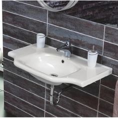 CeraStyle Hole By Nameek's Yeni Klasik Rectangular White Ceramic Wall Mounted or Drop In Sink - TheBathOutlet Floating Bathroom Sink, Drop In Bathroom Sinks, Drop In Sink, Bathrooms, Bathroom Stuff, Bathroom Ideas, Ceramic Undermount Sink, Ceramic Sink, Vessel Sink