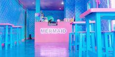 Mermaid Island Café, Pathum Thani, Thailand: wear a mermaid tail in the restaurant Diy Interior Doors, Discount Interior Doors, Interior Design, Rustic Coffee Shop, Mermaid Island, Pink Neon Sign, Blue Cafe, Colorful Drinks, Mermaid Tale