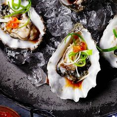 Try our oysters with Japanese dressing recipe. These oysters are a great date night recipe for a Valentine's Day dish. Try this oyster recipe with ginger Japanese Dishes, Japanese Desserts, Dessert Sushi, Oyster Recipes, Date Night Recipes, Homemade Sushi, Seafood Platter, Fish Dishes, Gastronomia