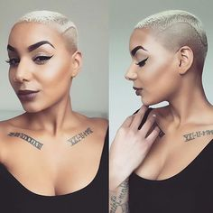 Trend Short Hairstyles For Black Women - hairstyles Trend Short Hairstyles For Black Women Trend Sho Chic Hairstyles, Black Women Hairstyles, Bald Haircut, Bald Head Women, Curly Hair Styles, Natural Hair Styles, Mohawk Styles, Cut Life, Hair Flip