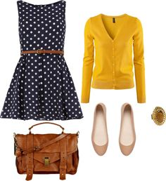 Adorable navy polka with yellow (okay but I can't wear yellow, so swap the colour of the cardi, thx) Komplette Outfits, Casual Outfits, Fashion Outfits, Womens Fashion, Style Work, Style Me, Estilo Preppy, Yellow Cardigan, Mustard Cardigan
